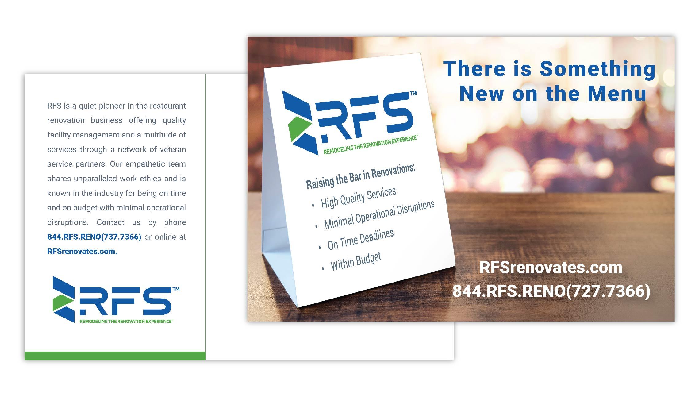 Postcard mailer for RFS