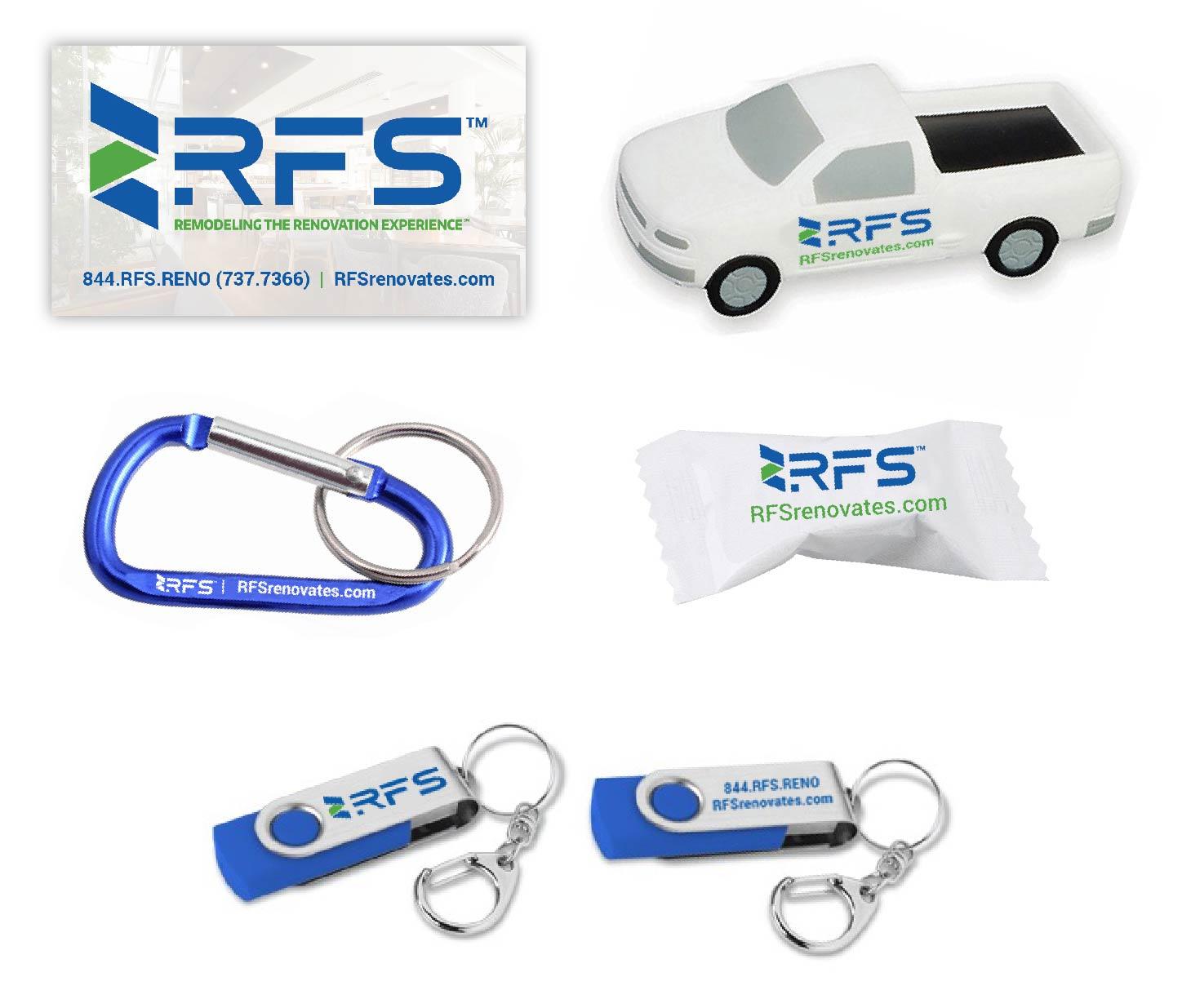 RFS logo on a business card, stress ball, caribiner, mint, and usb