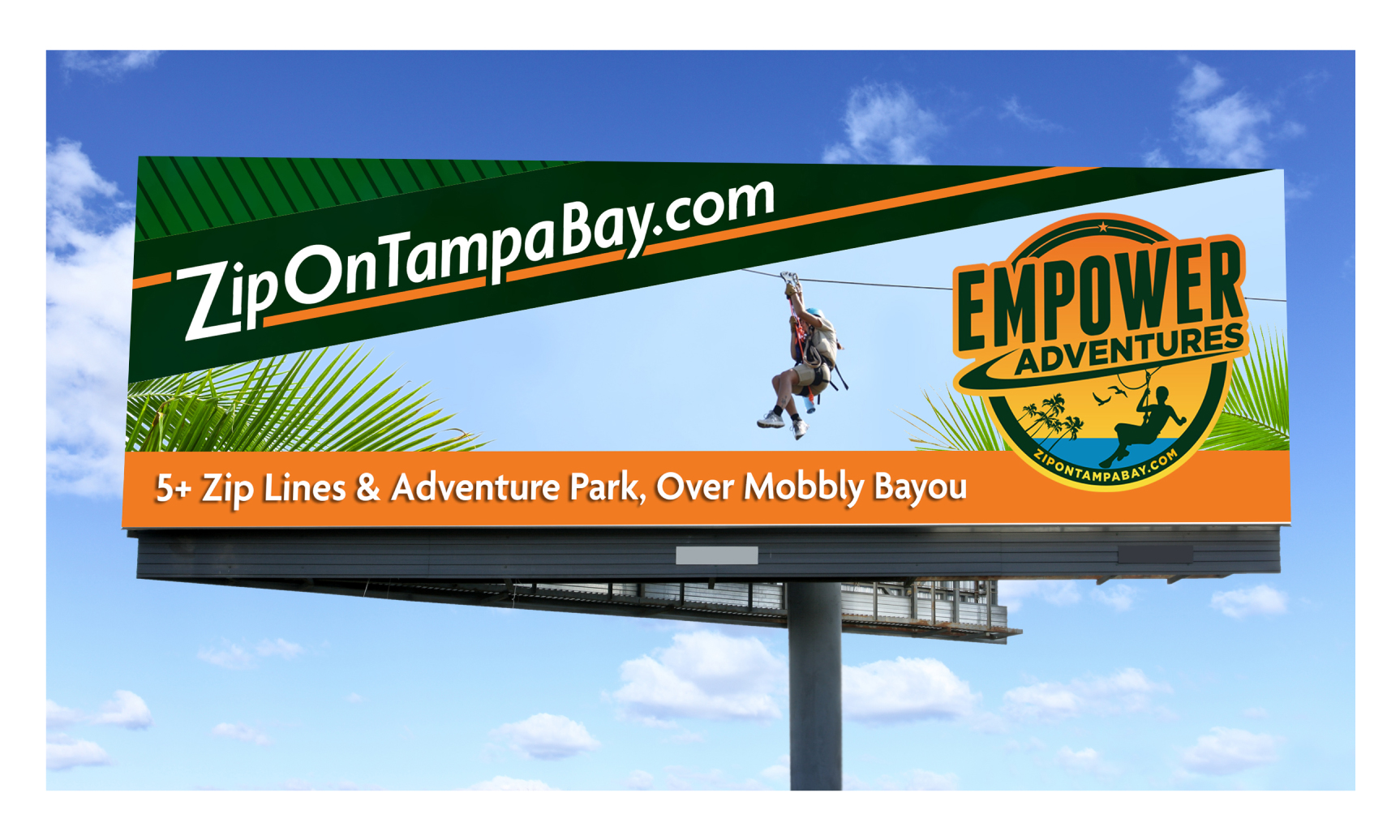 Billboard Ad for Empower Adventures showing man Ziplining